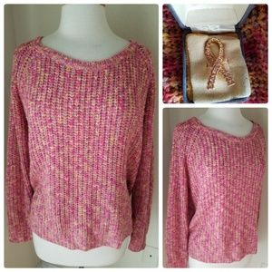 Rubbish Pink Crochet Knit Pullover Sweater